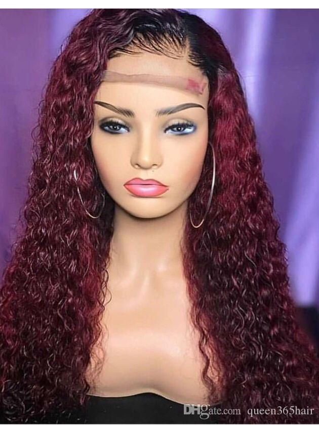 1b 99j Curly Ombre Two Tone Lace Front Wigs Ombre 99j Human Hair Full Lace Wigs For Black Women Lace Front Wigs Colored Wigs Thick Hair Styles