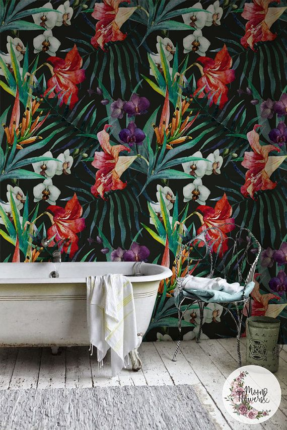 Amazon Jungle removable wallpaper, Flowers wall mural