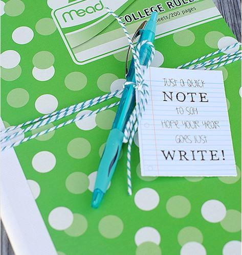 Cute Notebook and Printable Tag Student Gifts   These free printable tags are so fitting for students, teachers, and writers alike.