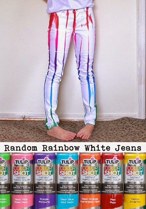 Superior Fabric Spray Paint Ideas Part - 9: ILoveToCreate Blog DIY Tutorial: Random Rainbow White Jeans With Color  Shot! Fabric Spray Paint