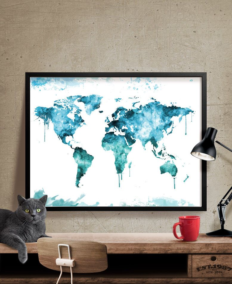World map world map poster art print map world map art world map world map poster art print map world map art watercolor gumiabroncs Images