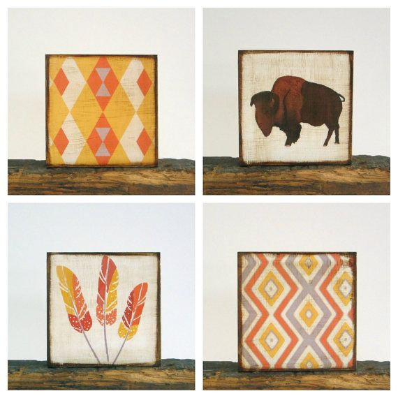 Southwest Wall Decor southwestern nursery art -buffalo wall art- animal prints- gender