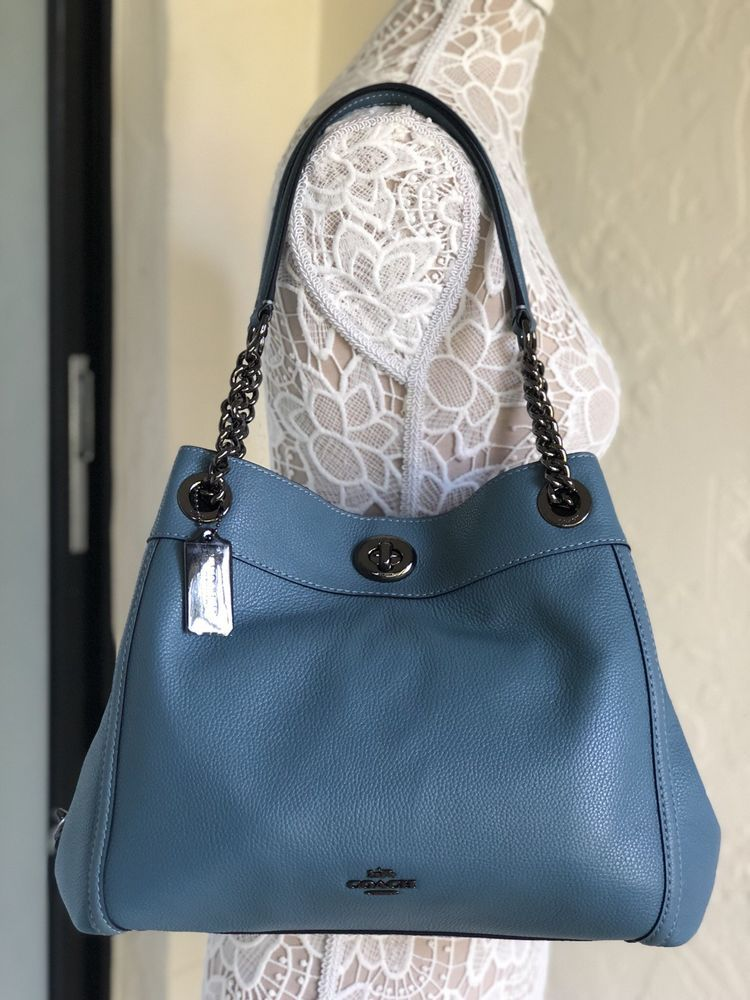 8ccc32f766d Coach 36855 Pebble Leather Turnlock Edie Shoulder Bag Chambray Blue  191202709423   eBay