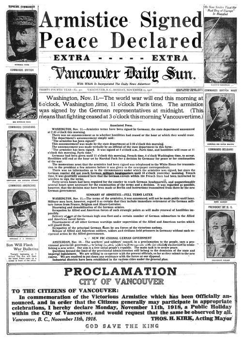 This newspaper displays armistice because it portrays the