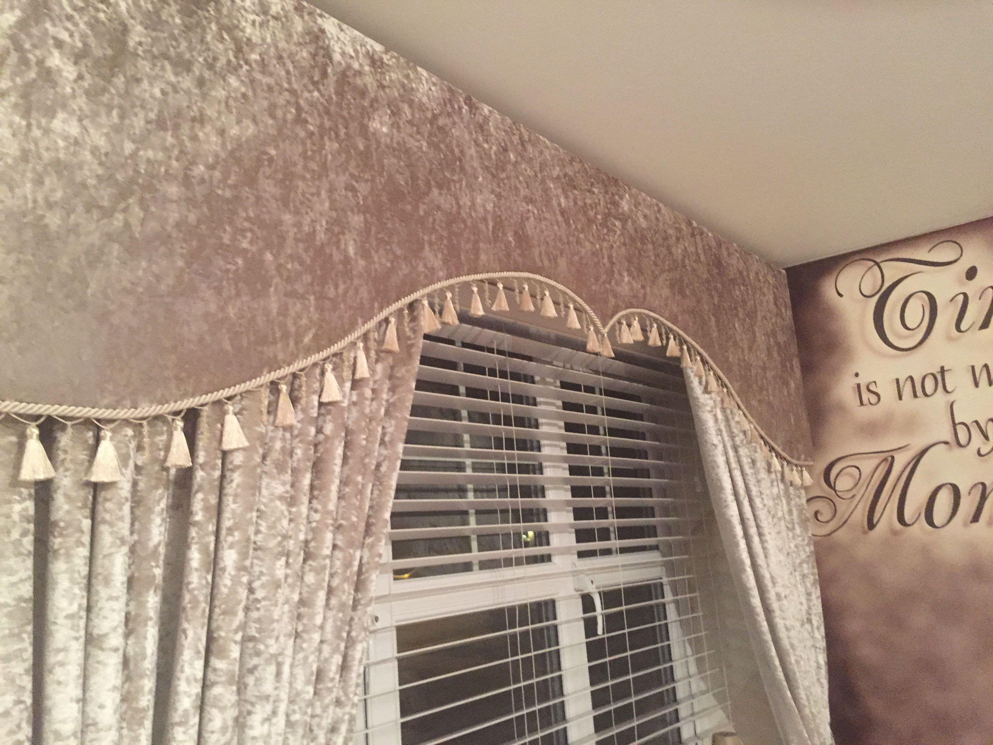 Ivory Crushed Velvet Cornice Board Pelmet Cornice Board Dreamy Bedrooms Cornice