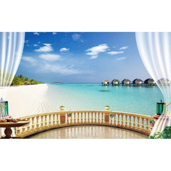 Papier peint romantique trompe l 39 oeil effet 3d paysage tropical coin de - Papier peint trompe loeil ...