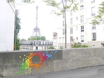 Paris Graffitied with Hundreds of Rainbow Origami for Peace
