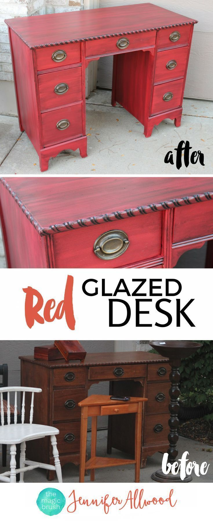 How to's : Red Glazed Desk Makeover by Jennifer Allwood | How to Paint Furniture | Red Painted Furniture Ideas | Red Bay Sherwin Williams | Glazed Furniture | Painted Desk Furniture Before and After #furniture #paintedfurniture #painting #diy #diyhomedecor #makeover #howto