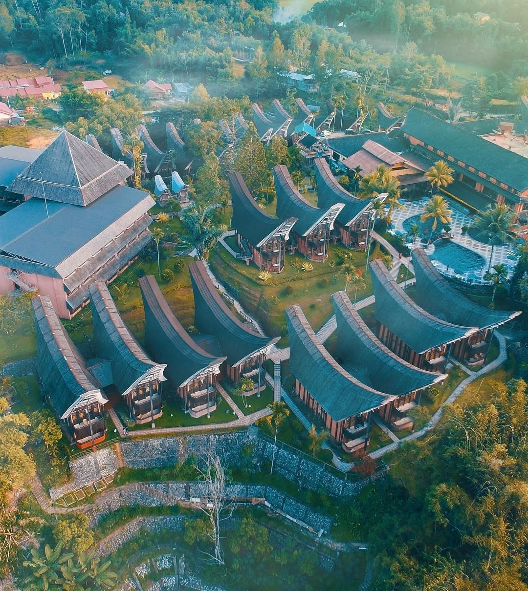 A Beautiful Aerial View Of Toraja Heritage Hotel In South Sulawesi