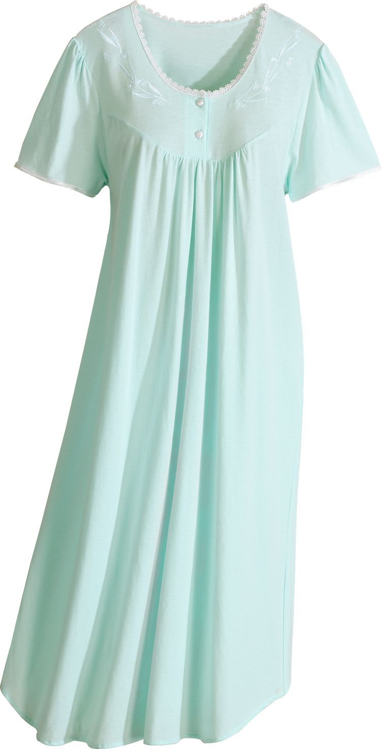 80e8b4c90e •Combed cotton nightgown is finished with a picot lace-trimmed neckline and  embroidered yoke