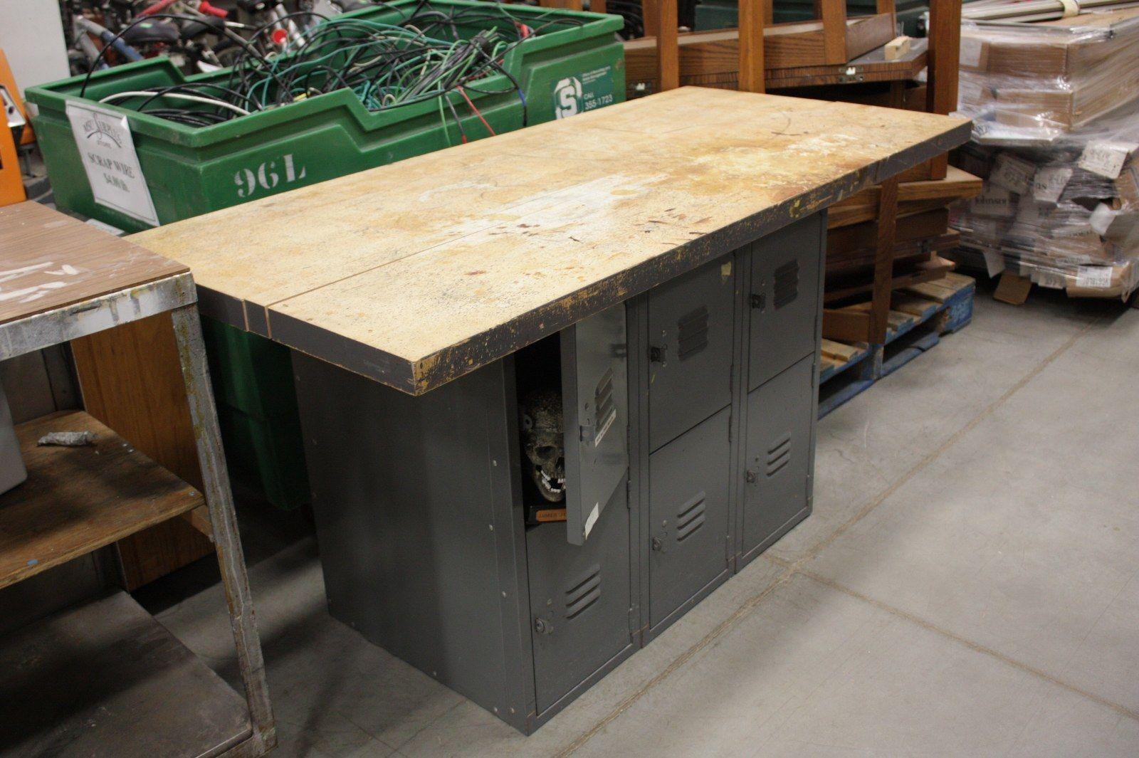 Gym locker wood slab work bench with storage with