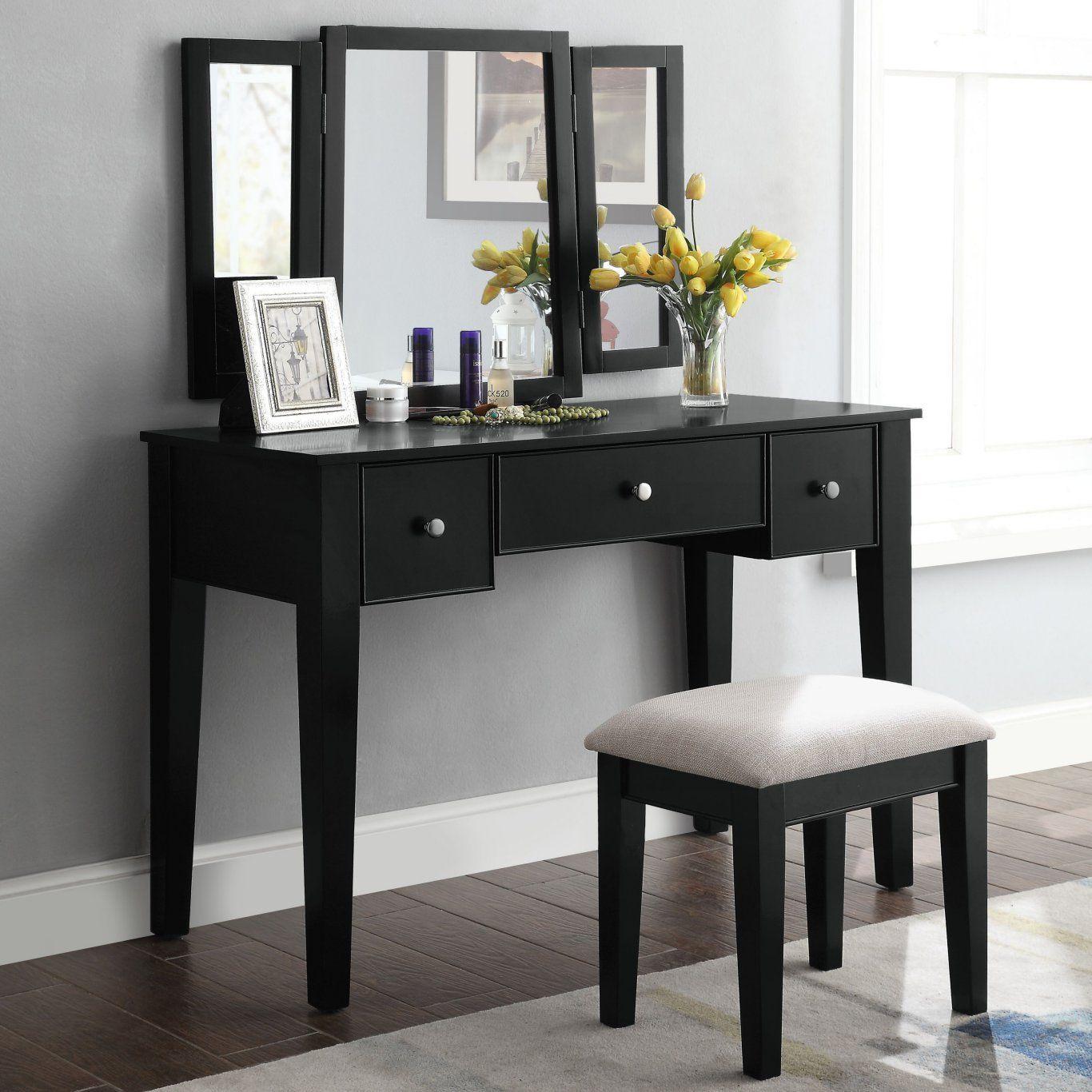 Acme 90360 Severus Black Wood Finish 3 Piece Vanity Desk
