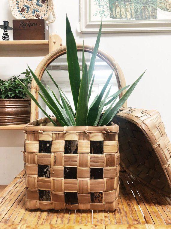 Vintage Large Lidded Woven Basket Large Plant Basket Vintage Woven Basket Planter Boho Basket Boho Basket Basket Planters