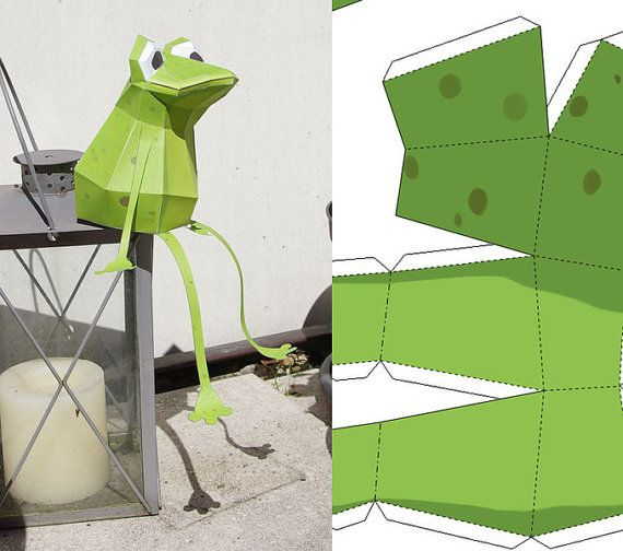 Papercraft Frog pdf 3D Puzzle by PaperwolfsShop on Etsy, €5.00