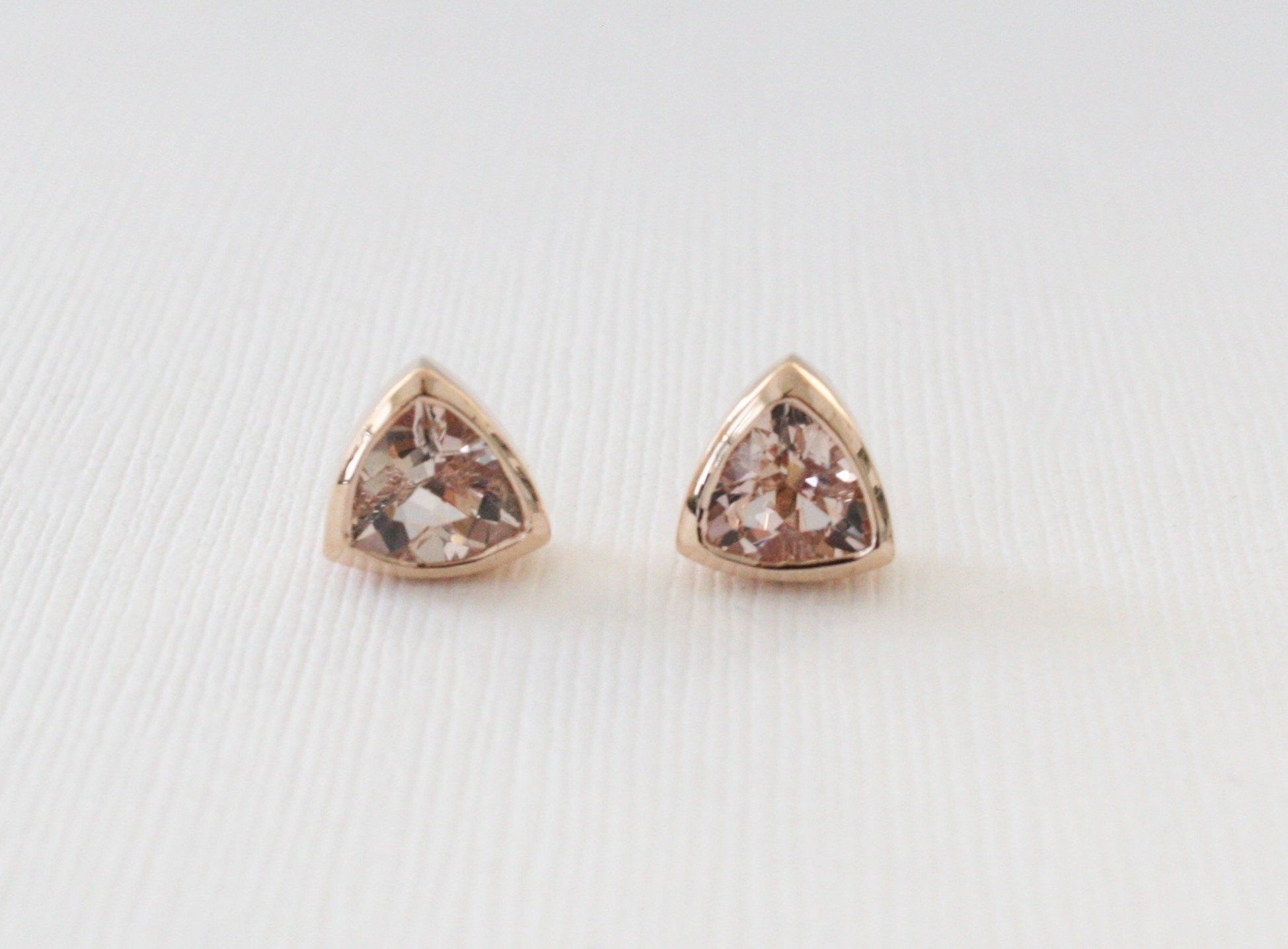 moraganite stud rose jewellery coloured earrings oval stone gold image morganite