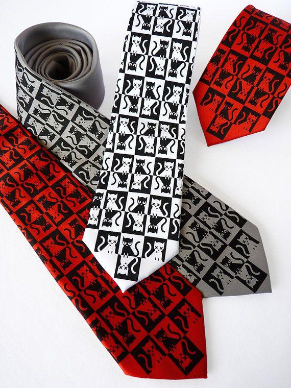 Schrodinger's Cat Necktie - Quantum Physics Tie, Cat Tie, Geeky Necktie, Science Gift