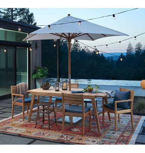 Patio Indoor Outdoor Teak Furniture, Outdoor Patio Table And Chairs With Umbrella Hole