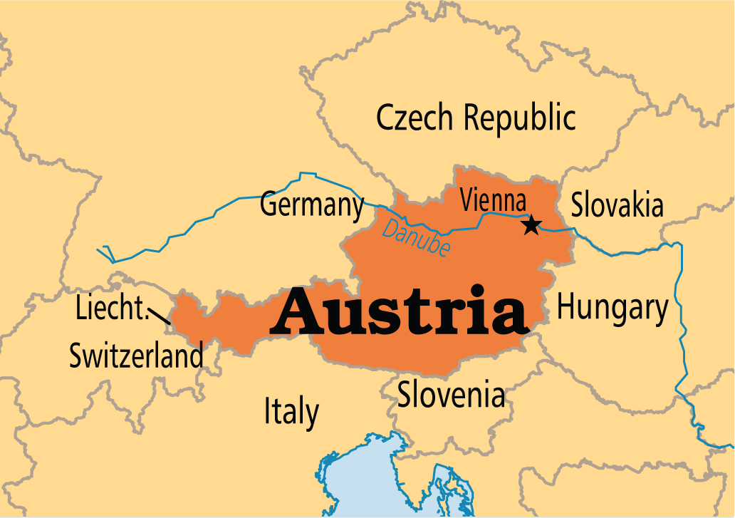 Austria vienna 4 europe states and capitals 52 pinterest map of austria gumiabroncs Image collections
