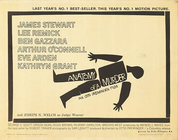 Anatomy of a Murder movie poster - Designed by Saul Bass. | Art ...