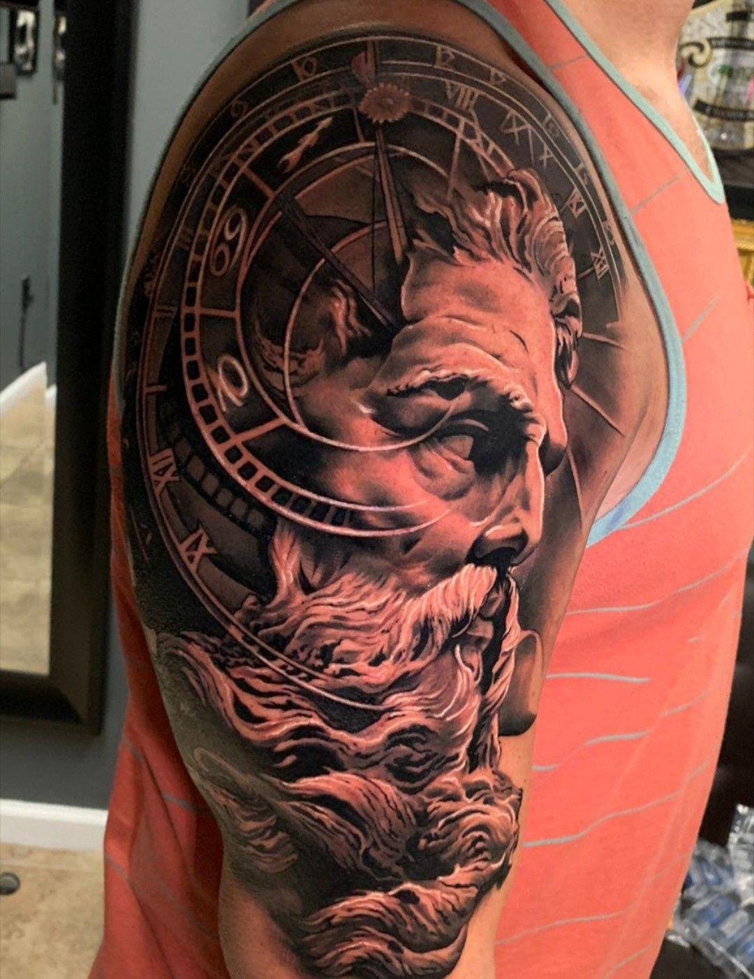 Nautical Tattoo Poseidon And Ship: Lyle's Poseidon Tattoo By BOLO. Realistic Black, Grey And