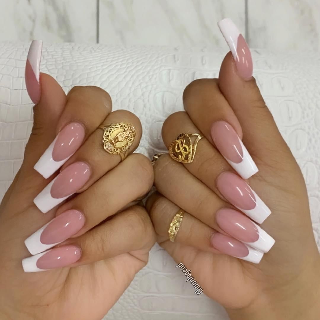 52 Gorgeous Coffin French Tip Nail Designs French Tip Acrylic Nails French Acrylic Nails Coffin Nails Long