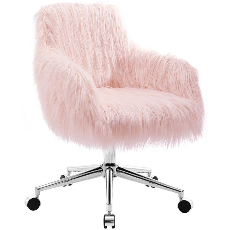 Riverbay Furniture Faux Fur Swivel Office Chair In Pink And Chrome Pink Office Chair Pink Desk Chair Pink Chair