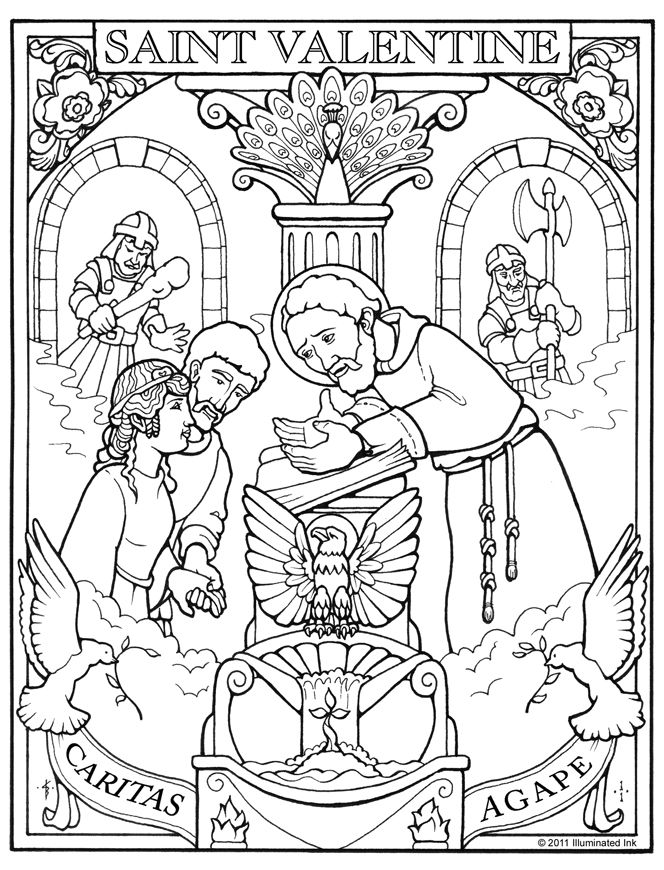 Happy Saint Valentine S Day Valentine Coloring Catholic