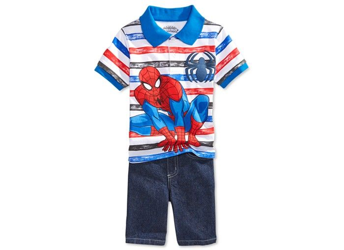 Nannette Little Boys' 2-Pc. Striped Spider-Man Polo Shirt & Denim Shorts Set - Toddler Boys (2T-5T) - Kids & Baby - Macy's