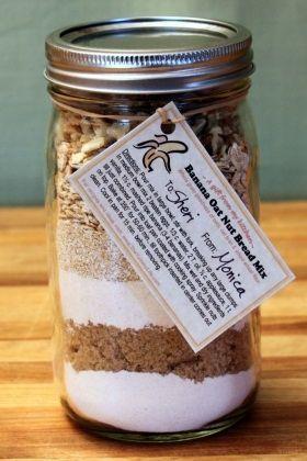 Banana Oat Nut Bread Gift Jar Mix Recipe In 2018 Grub Sweeties