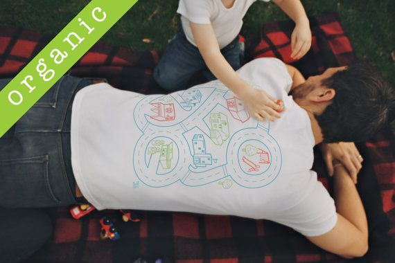 7877291e7 Organic Play Mat T-Shirt, Car [L] Kids Cars Massage Dad. Fathers Day Gift  for Dad Father Son Shirt New Dad Back Massage Organic Cotton Shirt