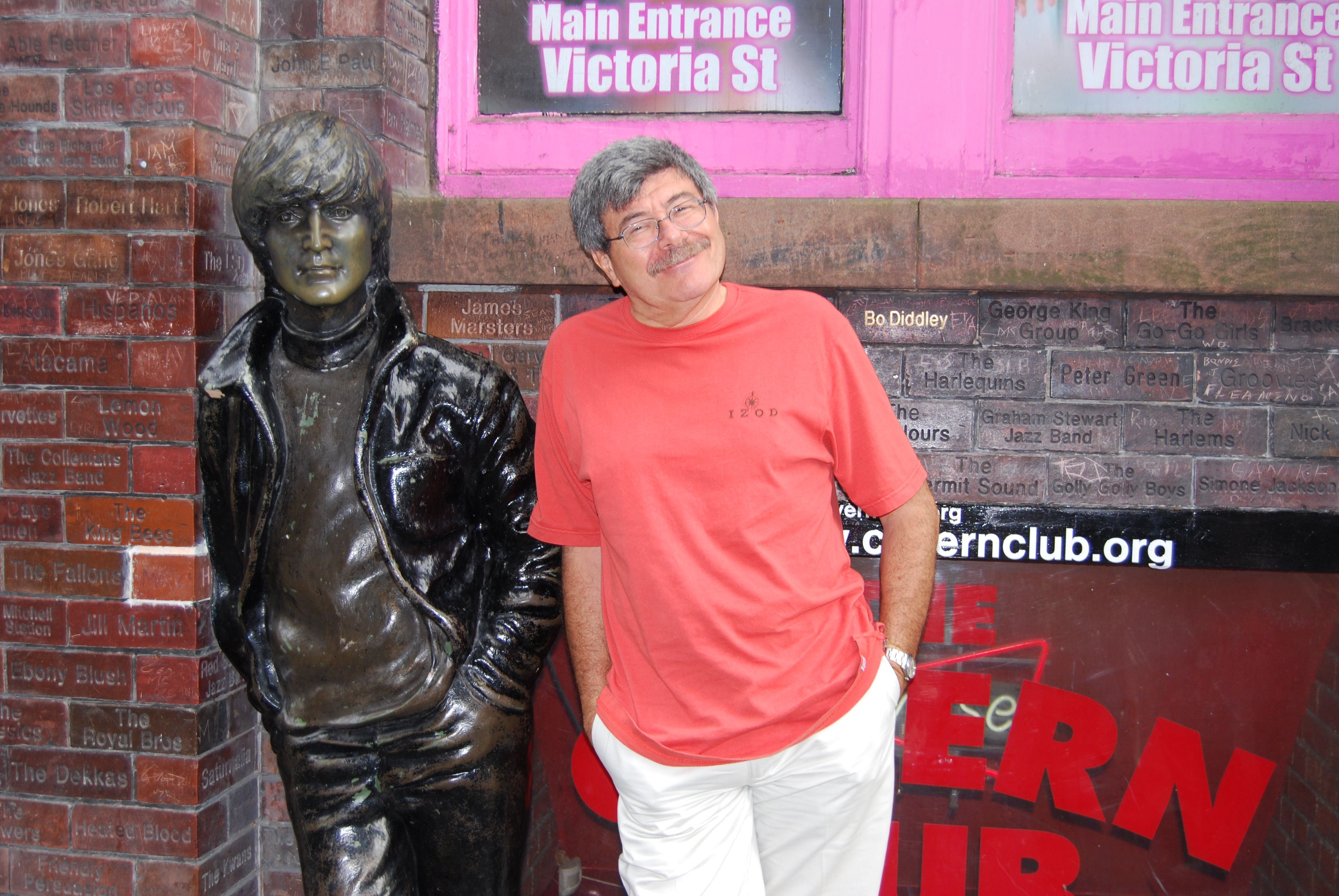 Marco in Liverpool England, outside the Beatles' favorite haunt.