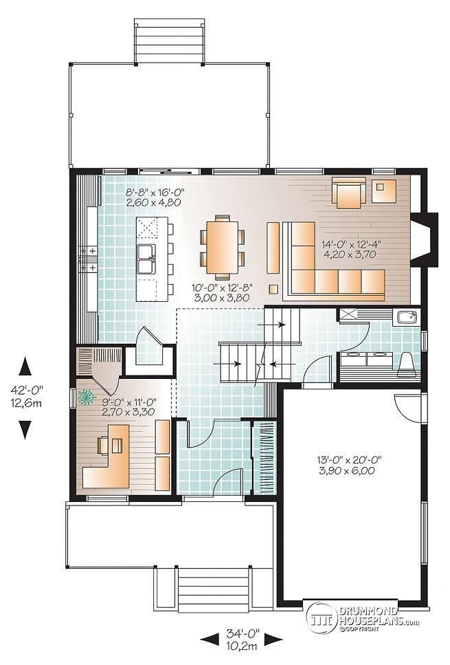 1st level Modern home plan, master suite, 4 bedrooms, 3 bathrooms ...