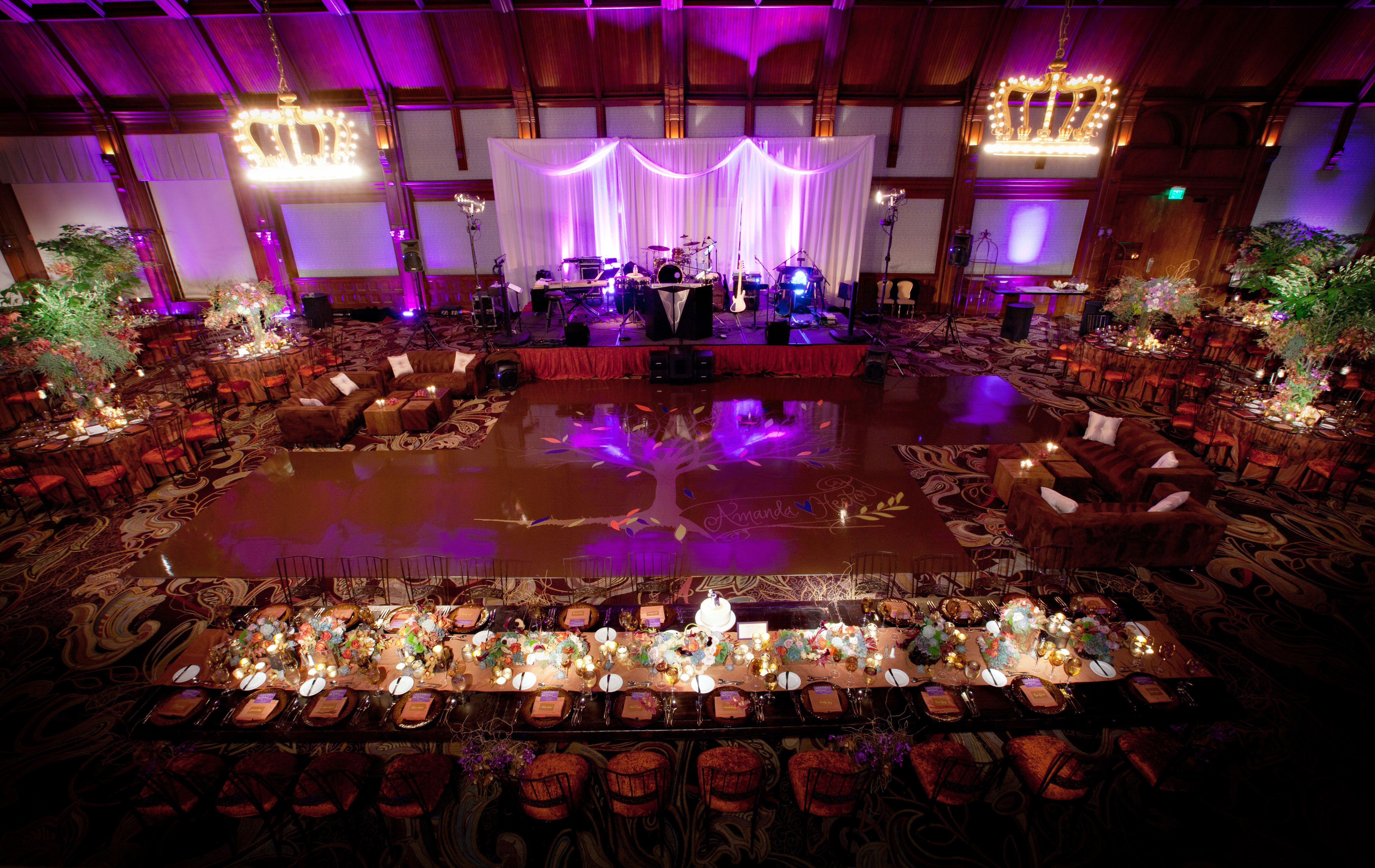Chocolate Brown Custom Seamless Dance Floor At The Hotel Del Coronado Crown Room Wedding