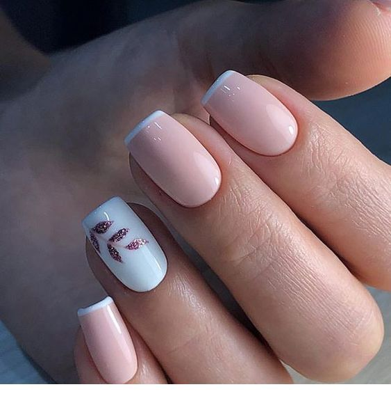 Light Pink Nails With White And Glitter Details Square Acrylic Nails Bridal Nail Art Stylish Nails