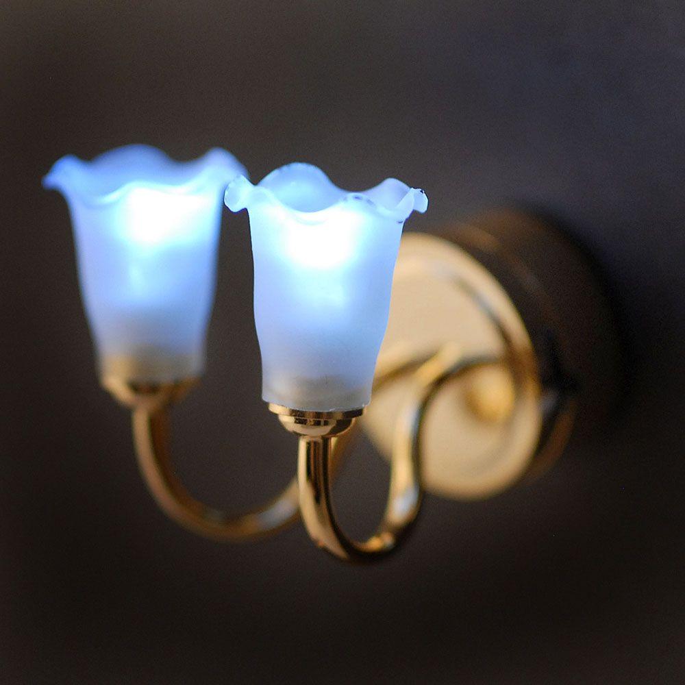 LT7512 - Double Tulip Wall Lamp - Battery Lights:Minimum World