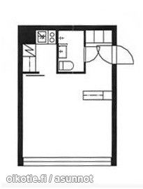 Another very simple studio floorplan (23m2) / Toinen yksinkertainen pikkuyksiöpohja (23m2) #tehoneliöt