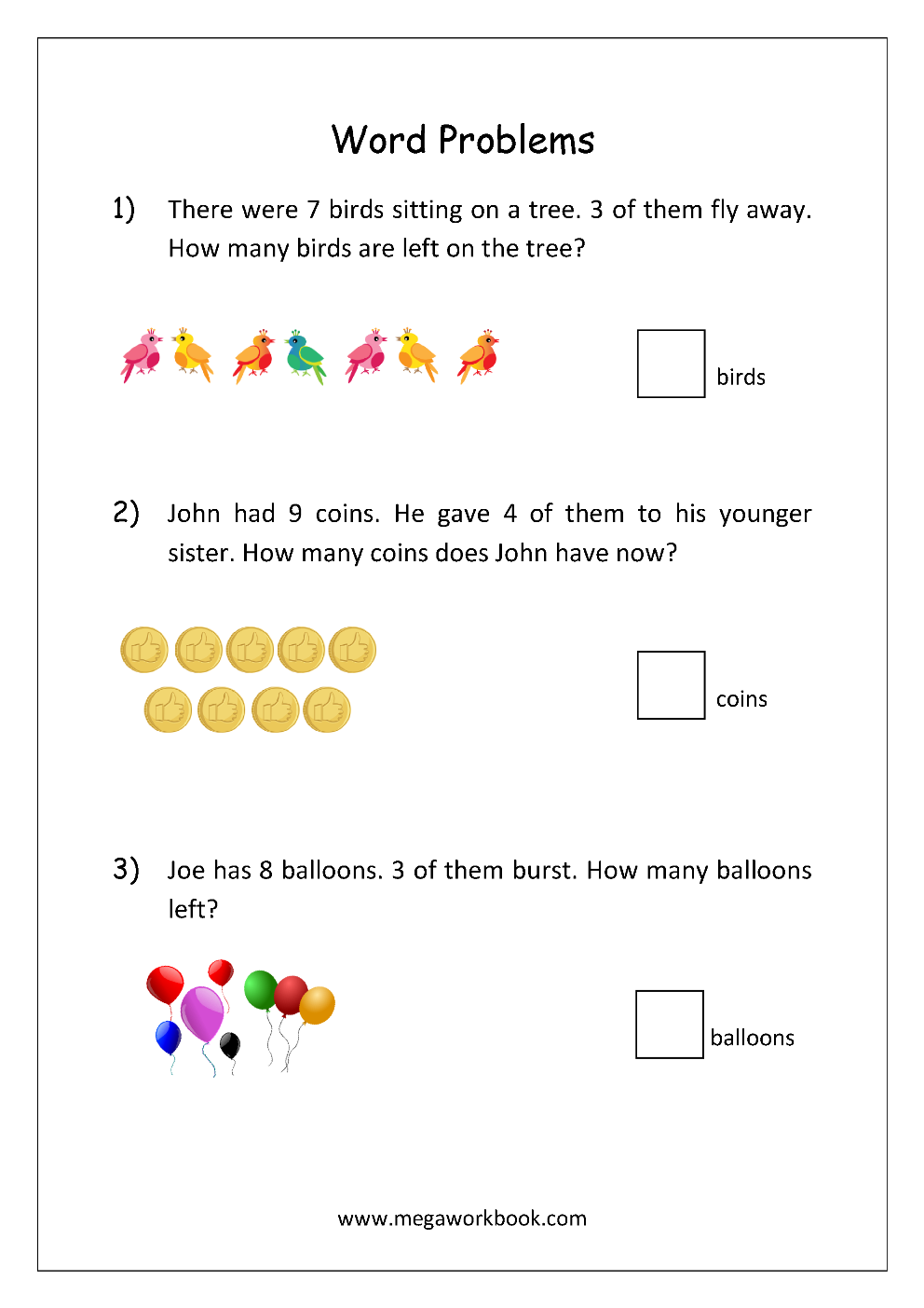 Addition And Subtraction Word Problems Story Problems