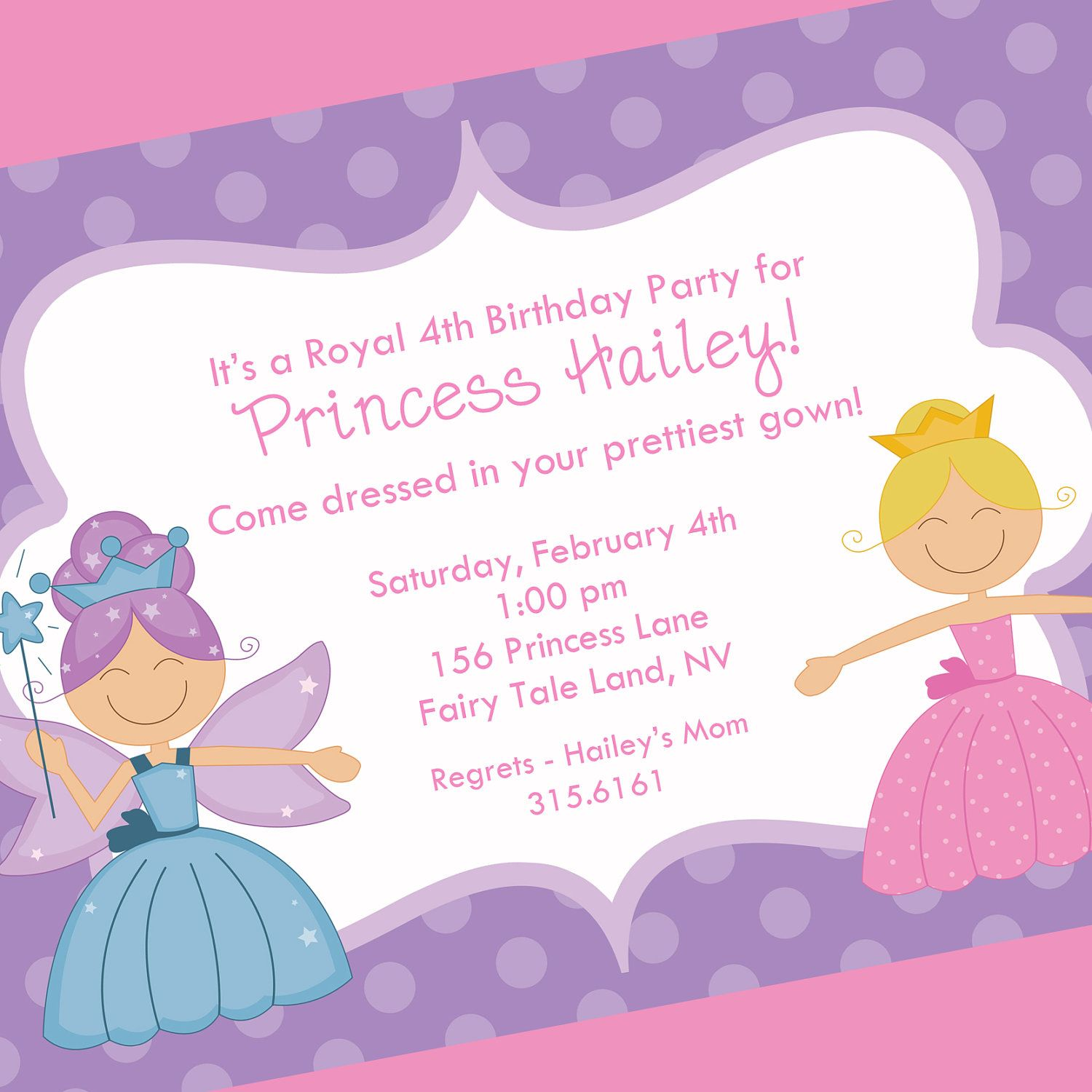 Princess Birthday Invitation Printable Invitation Design Cards - Birthday invitation messages for 5 year old boy