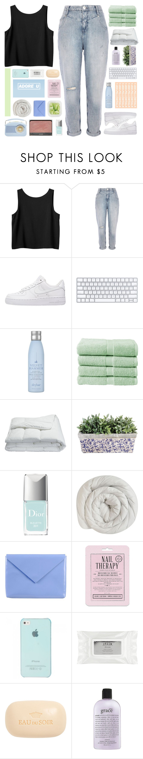 """""""we'll never be as young as we are now"""" by c-actus ❤ liked on Polyvore featuring Monki, River Island, NIKE, Drybar, Christy, Frette, Christian Dior, Acne Studios, Love 21 and Stila"""
