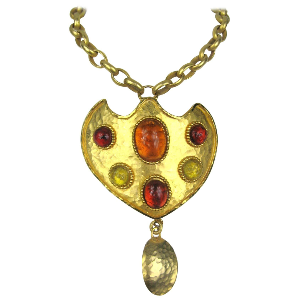 1980's Dominique Aurientis gripoix glass Shield Necklace