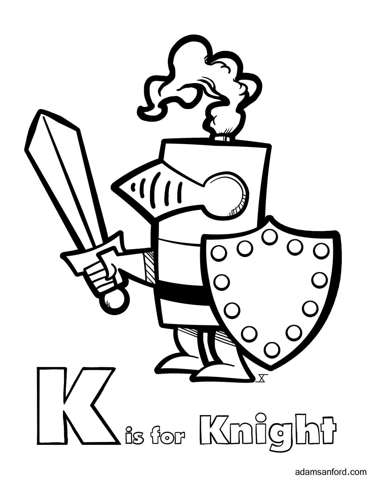 k is for knight coloring page click on the following link to