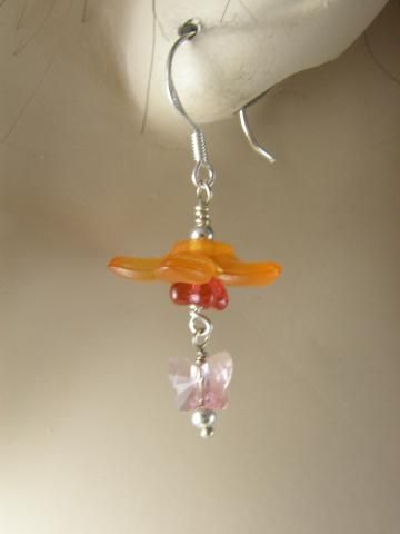 Silver and Orange Flower and Butterfly Bead Wire Wrapped Earrings by NaturesWrapture for $26.00