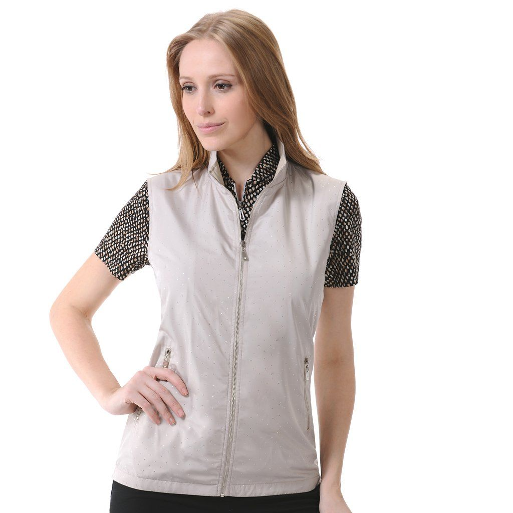 """Monterey Club Ladies' Lightweight Sparkling Dot Microfiber Poplin Zip- up Vest #2771(Champagne/Silver,Medium). 100%Polyester. Silver sparkling silver dot on water repellent microfiber fabric. Fully front zipped with 2 side matching zipped pockets. Chest: 20.5"""", Waist: 19.5"""", Open hem: 21.5"""" All measurement is approximate, -/+ 1/2"""" is manufacturing standard."""