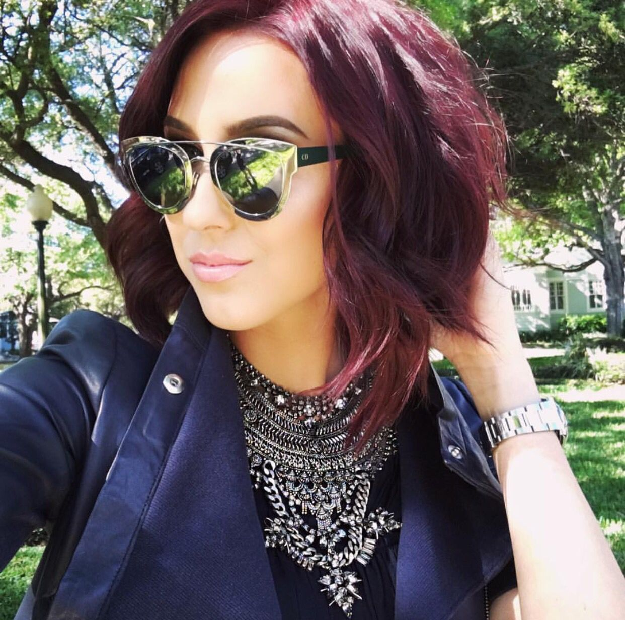 Ium obsessed with this hair color deep violet hair face nails