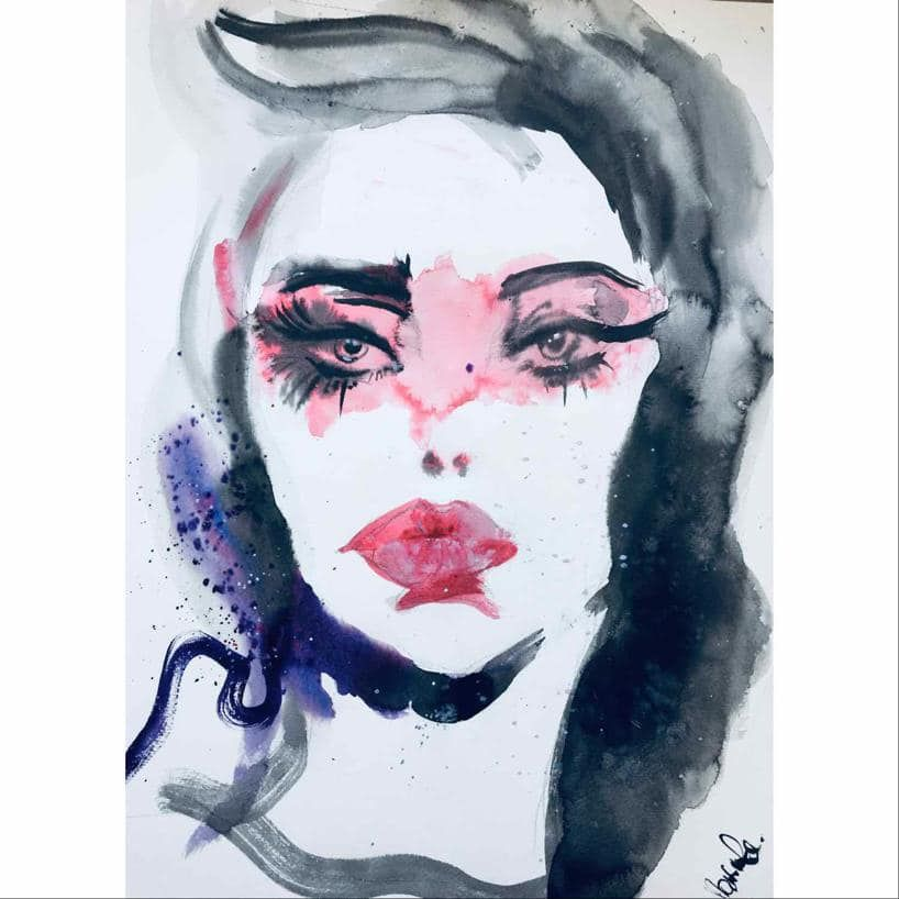Watercolor Portrait Fashion Illustration Aquarelle In 2020
