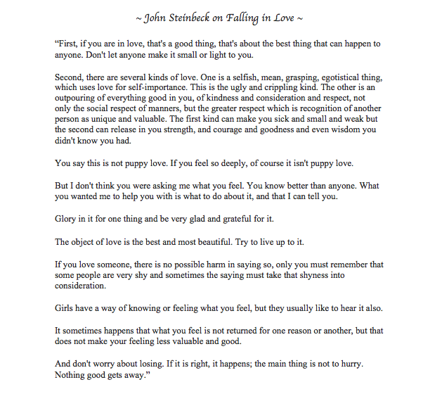 John Steinbeck's letter to his son on falling in love