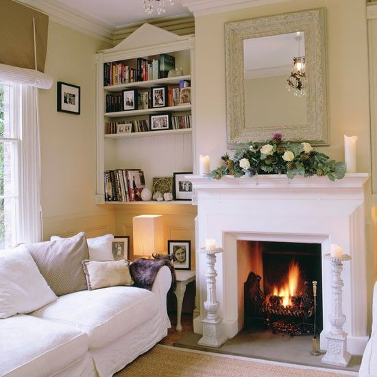 Nice Clever Designs For Alcoves Alcove Shelving And Cream. Living Room ...