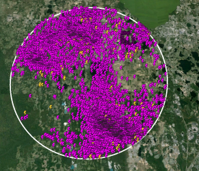 All lightning that occurred within a 10 mile radius of the hikers' location between Noon and 2pm. Yellow strikes are cloud-to-ground