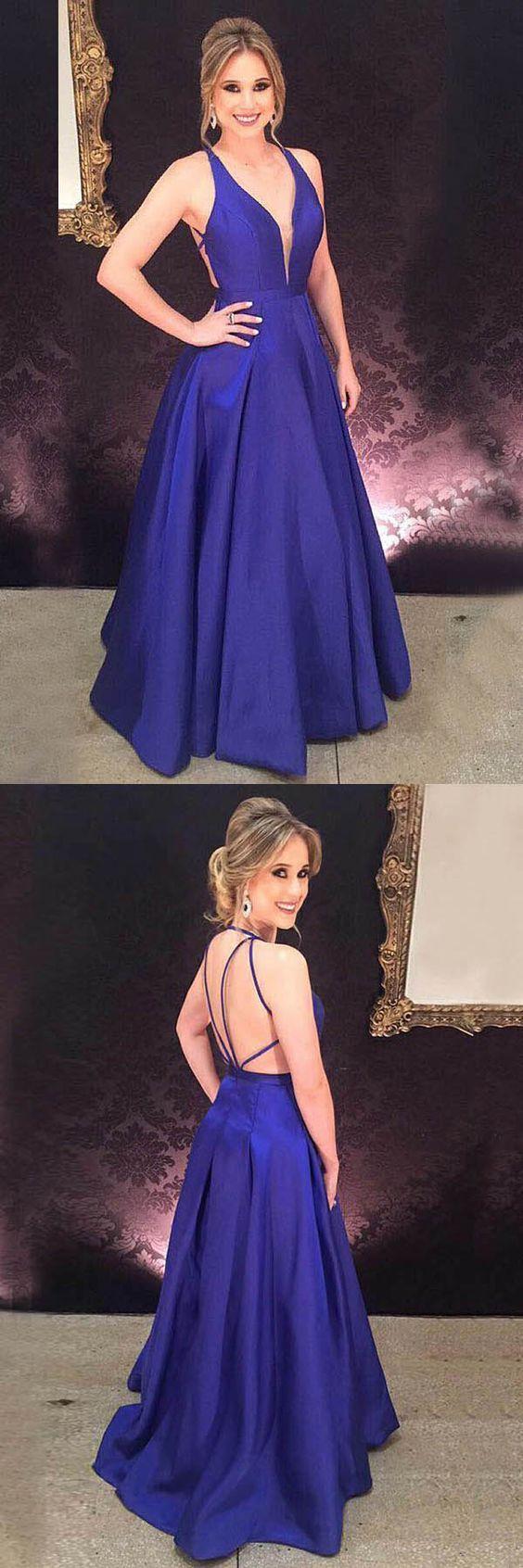 Aline deep vneck royal blue satin pleats prom evening gown