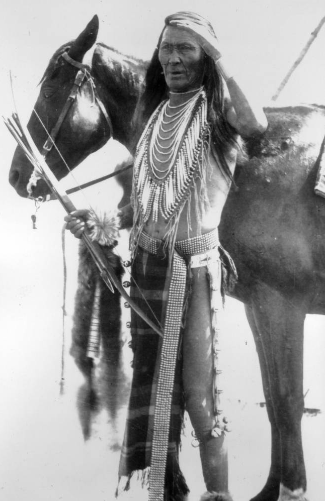 A Native American Flathead (Salish) man (Is-se-dar) stands next to his horse - Stone - 1907